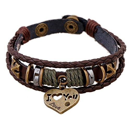 SNHWARE Bracelet Kreis Lederarmband Armband Unisex Multi-Strang-Lederarmband