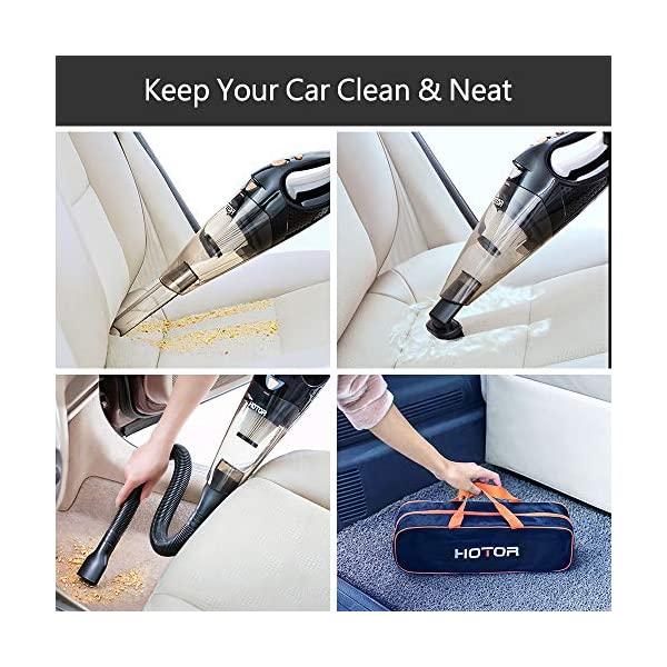 HOTOR Corded Car Vacuum Cleaner with LED Light, DC12-Volt Wet/Dry Portable Handheld Auto Vacuum Cleaner for Car,16.4… 2
