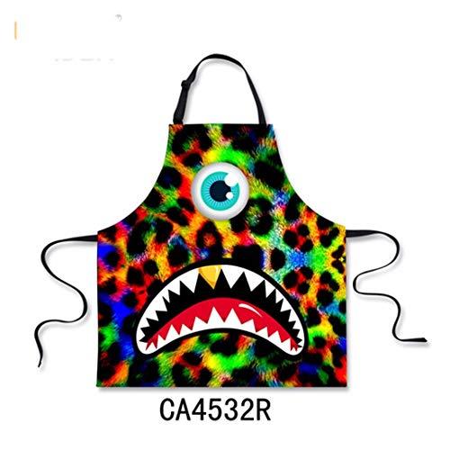 ZXXWQ Parrucchiere Grembiule Grembiuli da Cucina per Donna Candy Colorfull Un Occhio Grande Bocca Print Design Uomini Chef Barbecue Cottura