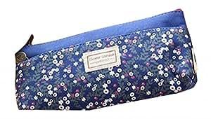 EOZY Trousse Scolaire Porte à Crayon Multi-Fonction Style Vintage Petit Fleur Bleu Foncé