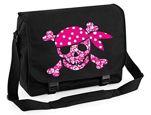 Mein Zwergenland Messenger Bag pinker Blumen-Totenkopf, 14 L, Schwarz (Schädel-ordner)