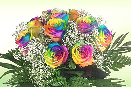 Bunter Blumenstrauß mit 10 Regenbogenrosen
