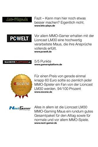 Lioncast LM30 Gaming Maus (19 Tasten, 16.400 dpi, MMO Laser Mouse) schwarz - 8