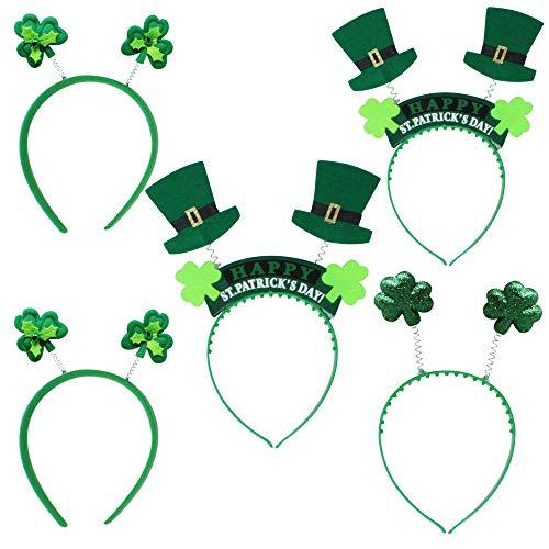 THE TWIDDLERS 5 St Patrick Design Stirnbänder / Dekoration - 3 Stile Haarband - Perfekt für Irish Theme Party Accessories / Festivals Verkleidung Kostüm Kopf Dekoration Hüte Kleeblatt für Erwachsene