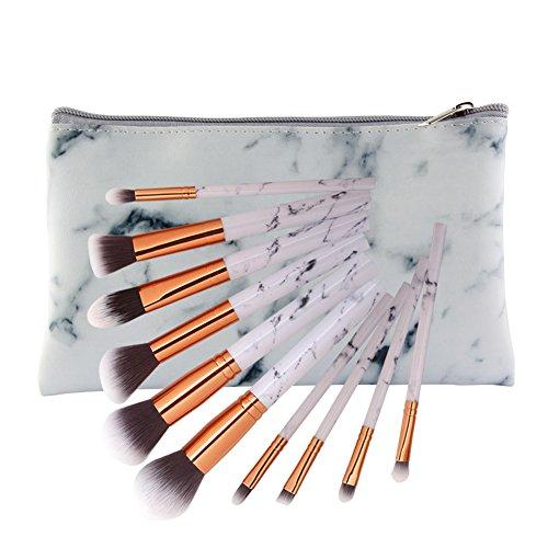 Cdet. 10Pcs Kit De Pinceau Maquillage en Visage avec Manche en Plastique Cosmétiques Brush Ensemble Et Sac à pinceaux Fondation Mélange Blush Yeux Poudre Brosse Make Up Blanc
