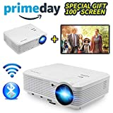 Wireless Video Projector Full HD 4500 Lumen 200' Max, Home Cinema Theater Projector 1080p for Indoor Outdoor HD Movie Game Party Night,  Smart Projector WiFi for Kodi DVD Tablet Smartphone XBOX TV Cable Box USB