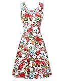 DJT Damen Vintage Ärmelloses Sommerkleid Traeger mit Flatterndem Rock Blumenmuster Tank Kleid Weiss S