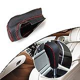 Tuqiang® Hand nähen Rutschfest Leder Schaltknauf Abdeckung Automatische Übertragung für Focus Mondeo Fiesta Auto Styling Rote Linie Typ C