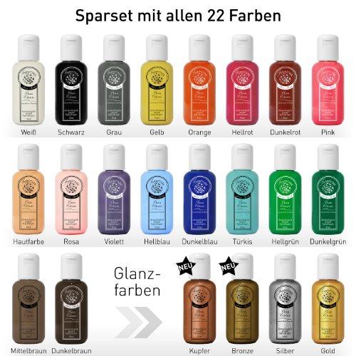 ng Farben Sparset - hautfreundliche Körperfarbe in Profi Qualität (auch für Airbrush geeignet), Komplett Set: 22x 50 ml Farbe + 3x Schminkschwamm + 1x Schminkpinsel ()