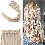 YoungSee Halo Hair Extensions Echthaar Blond Gesträhnt Flip Extensions Echthaar Harmlos Kein Kleber Unsichtbar One Piece Haarteil 40 cm 80g