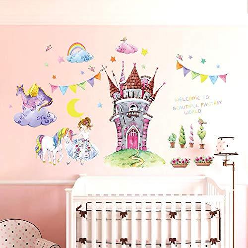 WandSticker4U- XL Aquarell Wandtattoo Prinzessin Schloss | Wandbild: 105x90cm | Wandsticker Einhorn Pferd Wandaufkleber Sterne Märchen Fee Blumen | Deko für Kinderzimmer Babyzimmer Baby Mädchen