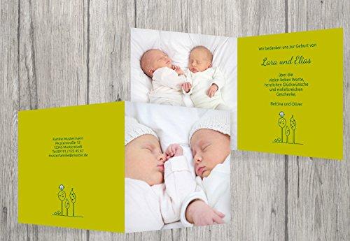 Kartenparadies Danksagung für Geburt Baby Dankeskarte Zwillinge Easy, hochwertige Danksagungskarte Baby inklusive Umschläge | 100 Karten - (Format: 145x145 mm) Farbe: Lindgrün