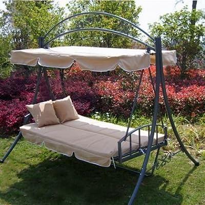 Loywe Hollywoodschaukel Gartenschaukel LW61-Beige-N