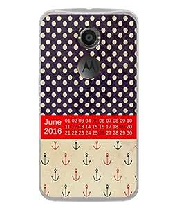 PrintVisa Designer Back Case Cover for Motorola Moto X2 :: Motorola Moto X (2nd Gen) (Month Of June Dotted Anchor Calander Date )