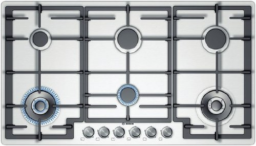 Bosch PCT915B91E built-in Gas Stainless steel hob - Hobs (Built-in, Gas, Stainless steel, Stainless steel, Rotary, 1.5 m)