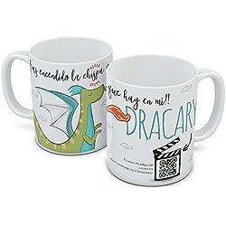 Taza con código QR - Chispa Dragon. Puedes añadirle al instante un vídeo o hasta 10 imágenes.