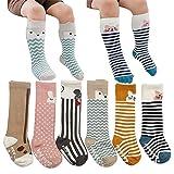 VWU Baby Stulpen Unisex Mädchen Jungen Kniestrümpfe Tier Lang Knie Socken Anti Rutsch Sohle Tier Schlauch Baumwolle Strümpfe 6er Pack 0-2/2-4 Jahre (0-2 Jahre)