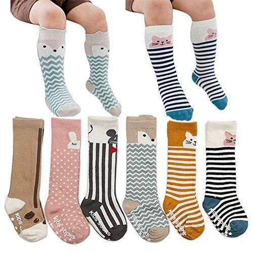 VWU Baby Stulpen Unisex Mädchen Jungen Kniestrümpfe Tier Lang Knie Socken Anti Rutsch Sohle Tier Schlauch Baumwolle Strümpfe 6er Pack 0-2/2-4 Jahre (2-4 Jahre)