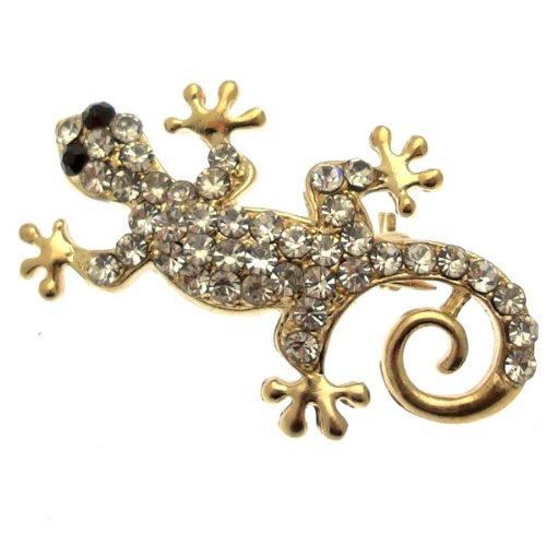 Acosta Jewellery Brosche-Kristall Klar Kleine Gecko Eidechse Brosche (Gold Ton)-in Geschenkverpackung -