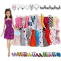 VanStar 32 Item/Set Doll Accessories=10 Mix Fashion Cute Dress+ 4 Glasses+ 6 Necklaces+2 Handbag+ 10 Shoes Dress Clothes For Barbie Doll