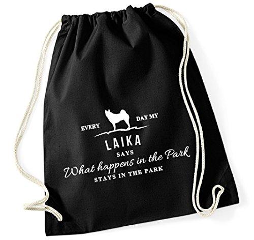 Turnbeutel - VINTAGE What happen Logo LAIKA Hund Hunde Russisch-Europäischer Ostsibirischer Westsibirischer Russland - Baumwoll Tasche Beutel Siviwonder schwarz (Russische Lustige Geschenke)