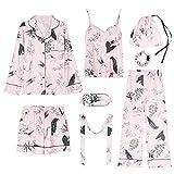Kllomm Pyjamas Damen-Langarmpyjamas mit Baumwollschlinge können außerhalb des...