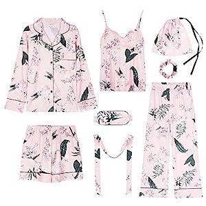 Kllomm Pyjamas Damen-Langarmpyjamas mit Baumwollschlinge können außerhalb des siebenteiligen Baumwollanzugs -A_L…