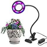 10W LED Plant Grow Lights 3 Levels Dimmable Desk Grow Lamp with Spring Clamp for Indoor Plants