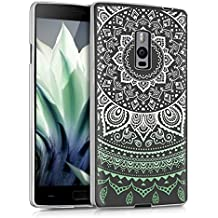 kwmobile Funda para OnePlus 2 - Case para móvil en TPU silicona - Cover trasero Diseño sol indio en menta blanco transparente