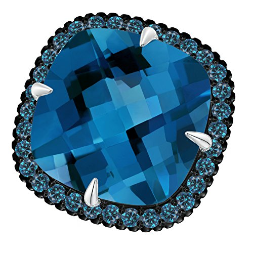 Angara.com - 14 Kt Weißgold Kissenschliff London Blue Topaz (London Blue Weissgold In Ring Topas)