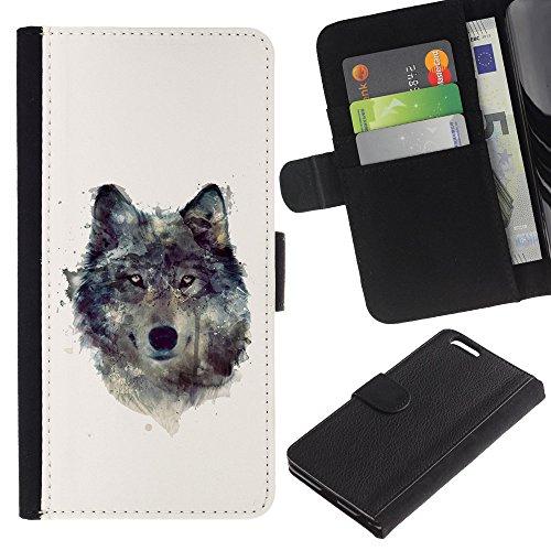 "Graphic4You Wolf Tier Design Brieftasche Leder Hülle Case Schutzhülle für Apple iPhone 6 Plus / 6S Plus (5.5"") Design #2"