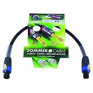 Sommer 059663 Câble haut-parleur Speakon 4 x 2,5 0,5 m Noir