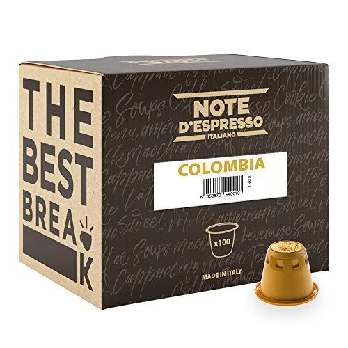 Note D'Espresso - Cápsulas de café de Colombia compatibles con cafeteras Nespresso, 5,6g (caja de 100 unidades)