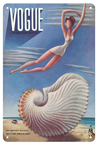 Vintage Vogue-covers (Pacifica Island Art Vogue Magazine Cover - Juli 1937 - Surreal Beach Fantasy - Vintage Magazine Cover von Miguel Covarrubias c.1937 - Fine Art Print 8 x 12 in Tin Sign Mehrfarbig)