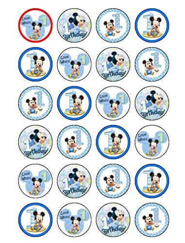 Essbare Oblaten zur Dekoration von Gebäck, 24Stück, Motiv: 1.Geburtstag / Mickey Maus (Dekorationen Geburtstag Mickey)