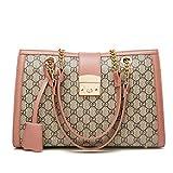 2018 Herbst und Winter neue GD mobile Damen Tasche Mode Umhängetasche gerippt Kette Tasche Diagonale große Tasche (Rosa, 35 × 11 × 24cm)
