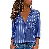VJGOAL Damen Bluse, Damen Mode lässig passenden Farbe herbstlichen Langarm-Taste lose Kariertes Hemd Bluse Top T-Shirt (S-Tasche-blau, 42)