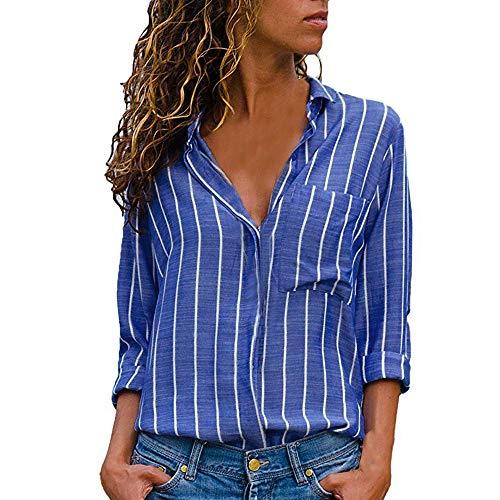 MYMYG Damen Blusen Streifen v Ausschnitt Hemd Oberteile Langarmshirts Blusen Casual Sommer Langarm mit Knopf Tunika (F1-Blau,EU:38/CN-L