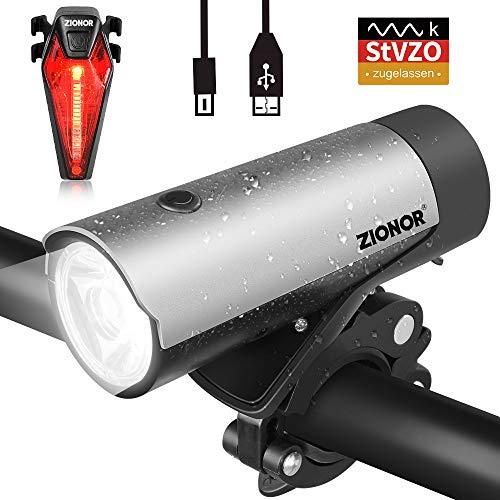 ZIONOR LED Fahrradlicht Set StVZO Zugelassen 50 Lux / 300 Lumens USB Wiederaufladbar Fahrradbeleuchtung Set 400m Sichtbarkeit IPX5 Wasserdicht Fahrradlampe mit Samsung 2600mAh Li-ion Akku