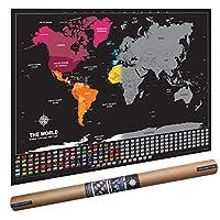Scratch Map Dekoratif Kazınabilir Ülke Bayraklı Nerede Bulundum Gez Gör Harita 96x67cm Orjinal Ürün Tüp Kutu Ambalajında En Büyük Boy