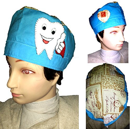 cap-dentist-hat-for-short-hair-decorated-emoticono-teeth-handcrafted-and-tested-by-professionals-for