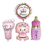 JJOnlineStore - Set di 4 palloncini grandi Elio e Aria, Bambino, Neonata, Baby Shower, Decorazione per feste (Rosa)