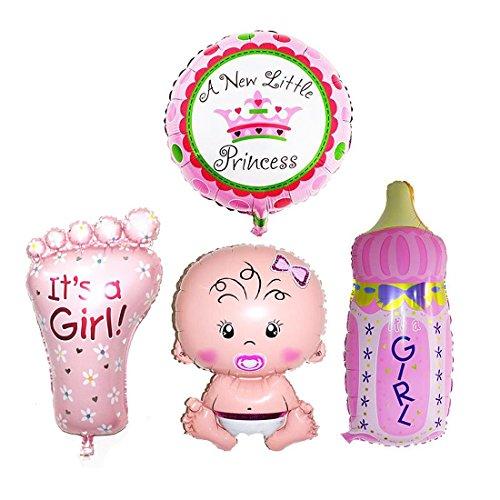 JJOnlineStore - Juego de 4 Globos de papel de helio para bebés pequeños para niños Ducha de bebé Cumpleaños Fiesta de bautizo Decoración (Pink)