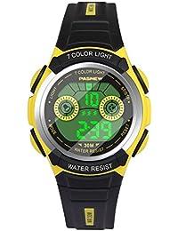 Hiwatch Kinder Armbanduhr, Multifunktionale Digitale LED Wasserdichte Sportuhr Gelb