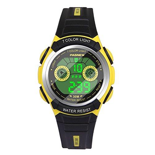 Hiwatch Reloj Multifuncional LED Digital a Prueba de Agua Relojes para los Niños Amarillo
