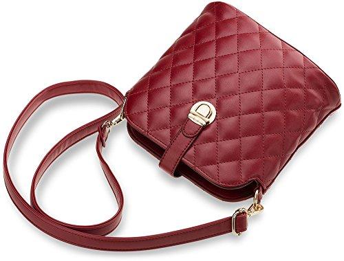 kleine gesteppte Damentasche Umhängetasche City - Clutch-Tasche (rot) (Klassische Tasche Gesteppte)