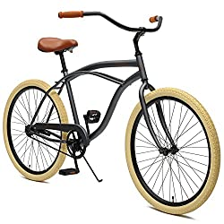 Critical Cycles Herren Chatham Men's Beach Cruiser Single Speed, Graphite und Beige, Graphite & Beige, One Size