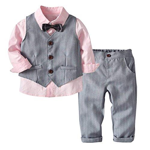 G-kids Baby Jungen Bekleidungsset Gentleman AnzugKleinkinder Taufe Hochzeit Weihnachten Sakkos Anzüge Fliege SpielanzugHemd+Hose+Weste (Rosa, 90/2 Jahre)