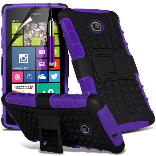 ( Orange ) Nokia Lumia 630 Hülle Abdeckung Cover Case Premium Fitted schutzhülle Tasche PU-Leder-Schlag mit 3 Kredit- / Bank-Karten-Slot-Kasten-Haut-Abdeckung mit LCD-Display Schutzfolie, Poliertuch u Shock Proof + Stylus ( Purple )