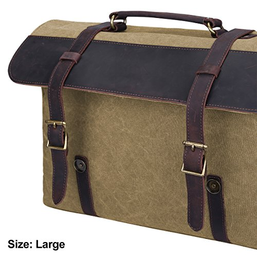 S-ZONE Sacchetto di cuoio della borsa del computer portatile della borsa della borsa da viaggio del messaggero delluomo di (grande-cachi) Cachi